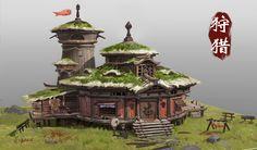 zhi-tian portfolio   CGSociety Environmental Architecture, Chinese Architecture, Concept Architecture, Environmental Art, Classical Architecture, House Architecture, Landscape Model, Landscape Drawings, Fantasy Landscape