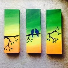 Three piece canvas beautiful birds in a world of color Acrylic 2015 by Trina