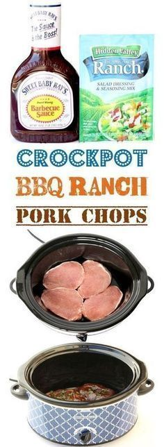BBQ Ranch Pork Chops Crock Pot Recipe 4 Ingredients - The Frugal Girls - Crockpot Pork Chops Easy BBQ Recipe! Just 4 Ingredients The perfect dinner for your busy weeknights - Easy Bbq Recipes, Beef Recipes, Chicken Recipes, Recipes Dinner, Crockpot Pork Chop Recipes, Porkchop Recipes Crockpot, Crockpot Meals Easy, Recipes For Pork Chops, Cooker Recipes
