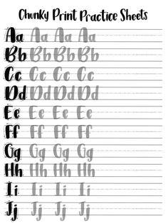 Hojas de práctica de impresión gruesa minúsculas & | Etsy Brush Lettering Worksheet, Calligraphy Worksheet, Lettering Guide, Hand Lettering Practice, Hand Lettering Alphabet, How To Write Calligraphy, Doodle Lettering, Lettering Styles, Chalk Typography