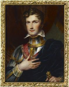 Husband of Princess Charlotte of Wales (Charlotte Augusta) (1796–1817). Leopold I (Leopold George Christian Friedrich) (1790-1865), King of the Belgians, when he was Prince Leopold of Saxe-Coburg-Saalfeld By Henry Collen 1819. Parents Duke Francis (Francis Frederick Anthony) (1750-1806) of Saxe-Coburg-Saalfeld & 2nd wife of Duke Francis (1750-1806), Countess Augusta Caroline Reuss Reuss of Ebersdorf  (1757-1831).