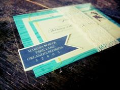 Marissa + Toms Aqua Blue Faux Bois Wedding Invitations // the coolest part is the clear envelopes to see through!!
