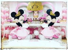 Carousel Birthday Parties, Minnie Mouse Birthday Decorations, Minnie Mouse Birthday Outfit, Minnie Mouse Pink, Mickey Birthday, Baby Girl Birthday, Mickey Minnie Mouse, 2nd Birthday Parties, Mouse Parties