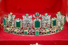 57 12ct Diamond Emerald Tiara Crown Sterling Silver Antique Look Vintage Style