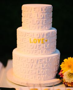 Love Wedding Cake // Heather Kincaid Photography // http://blog.theknot.com/2013/09/12/a-cheerful-vintage-wedding-video-for-a-playful-malibu-wedding/