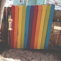 Rainbow Fence for the backyard, found on Walk Slowly Live Wildly Blog.