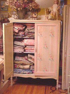 vintage wallpaper linen closet...available will list on etsy