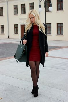 wantataste . fashion . red dress . black coat . elegant . long hair . blonde . outfit