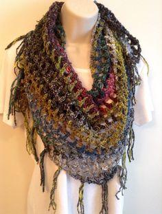 Deep Jewel Tone Crochet Triangle Scarf by SueAnnesKnitShoppe on Etsy