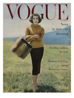 Vogue Cover - October 1956 Poster Print by Karen Radkai at the Condé Nast Collection