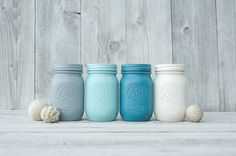 Teal and aqua mason jar decor. mason jars. by KAStylesMasonJars