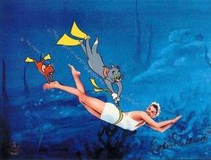 "Esther Williams swims with Tom and Jerry in ""Dangerous When Wet"" (1953)"
