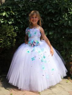 White Blue Orange Turquoise Flower Girls by KingdomBoutiqueUA