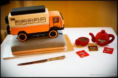 A truck wedding cake and Yorkshire Tea teapot at a Denton Hall wedding