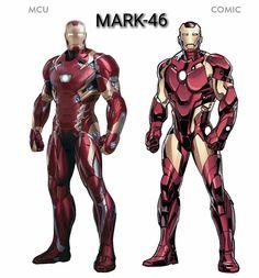 All MCU Ironman Suits & comparison with Comic suits. Marvel Dc Comics, Marvel Heroes, Marvel Characters, Marvel Movies, Marvel Avengers, Iron Man Fan Art, Les Innocents, Ironman, Iron Man Tony Stark