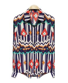 Blue Chiffon Blouse with Twin Patch Pockets and Ethnic Print