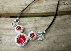 Red Necklace, Black Leather Necklace, Statement Necklace, Silver Necklace, Bib Necklace, Charm Necklace, Wedding Necklace, For Gift by danielapalatnik on Etsy