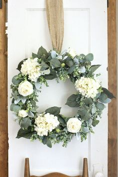 Hydrangea Wreath Lambs Ear Wreath Fixer Upper Decor Door