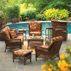 Wicker Furniture- Great Accent - Wicker Home Furniture Outdoor Wicker Patio Furniture, Wicker Chairs, Wicker Furniture, Outdoor Decor, Cane Chairs, Minimalist House Design, Minimalist Home, Outside Living, Outdoor Entertaining