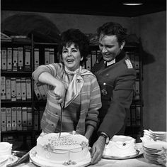 Elizabeth Taylor and her husband Richard Burton, classic Hollywood actors.