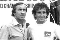 Alain Prost junto al mítico piloto Jackie Stewart.