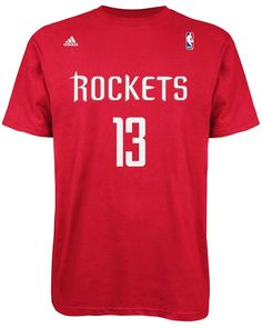 Mens Houston Rockets James Harden adidas Red Net Number T-Shirt