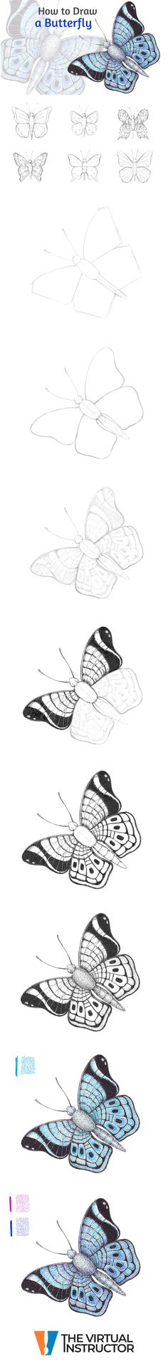 Learn how to draw a butterfly with pen and ink using stippling and hatching in this step by step lesson. Ink Pen Drawings, Animal Drawings, Drawing Lessons, Art Lessons, Stippling, Step By Step Drawing, Watercolor Techniques, Learn To Draw, Watercolour Painting