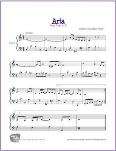 Aria from Suite in D (Bach) | Free Sheet Music for Piano
