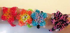 Pulsera Flor de hibisco hecha de bandas elasticas, hechas a mano. Adulto/Niño.