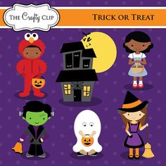 Tick or Treat Halloween Clipart Set by TheCraftyClip on Etsy, $6.95