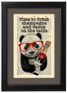 Time+to+Drink+Champagne+Panda+art+DICTIONARY+Print++by+Natalprint,+$8.00
