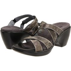 Naot Footwear Esteem (Metal Leather) Women's Sandals ($93) ❤ liked on Polyvore featuring shoes, sandals, grey, grey slip on shoes, leather slip on shoes, grey leather sandals, slip on sandals and gray shoes
