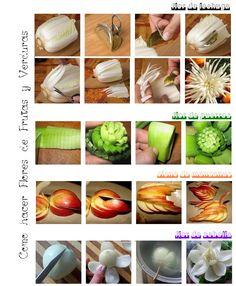 Como hacer Flores de Frutas y Verduras <sub>Paso a Paso</sub> - enrHedando