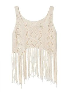 Sexy Women Sleeveless O Neck Hollow Tassels Knitted Tank Top