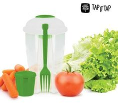 Lunchbox pojemnik na sałatkę żywność z widelcem, pojemnikiem na sos 1l / 01393