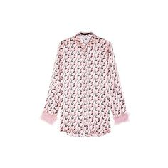 Mother Of Pearl Claribel Cupid Print Top ($227) ❤ liked on Polyvore featuring tops, multi, patterned button up shirts, button up shirts, shirt top, pink shirt and patterned button down shirts