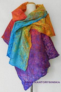 felted scarf PURPLE RAINBOW shawl wrap purple scarf art to wear artistic wool scarf mulicolor felt wet by Kantorysinska