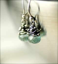 Wire Wrapped Moss Aquamarine Gemstone Earrings on Oxidized Sterling Silver by PoppyLayne on Etsy