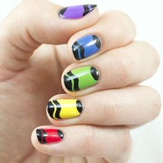 """Nothing says """"back to school"""" like a box of crayons. Give your tips a sentimental finish with this nail art tutorial inspired by a childhood favorite. Latest Nail Designs, Hot Nail Designs, French Nail Designs, Nail Polish Designs, School Nail Art, Back To School Nails, Hot Nails, Hair And Nails, Ladybug Nail Art"""
