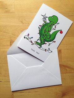 Wish you had more puns and more dinosaurs in your life? This tyrannosaurus rex is ready for the holidays. Christmas Puns, Funny Christmas Cards, Christmas Cards To Make, Xmas Cards, Christmas Time, Holiday Cards, Christmas Crafts, Greeting Cards, Cute Cards
