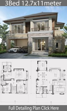 Home design plan 12 with 3 Bedrooms is part of House design - Home design plan 12 with 3 Bedrooms A contemporary style house that emphasizes large openings Clear balcony railing, modern look, partial wood House Layout Plans, Dream House Plans, Small House Plans, House Layouts, 2 Storey House Design, Bungalow House Design, Design Your Dream House, 4 Bedroom House Designs, Minimalist House Design