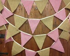 Items similar to Burlap, hessian, red gingham bunting 29 flags attached side by side to 17 ft tape ideal for rustic barn dance style weddings & country fairs on Etsy Country Dance, Country Fair, Country Style, Barn Parties, Western Parties, Wedding Bunting, Rustic Wedding, Lace Wedding, Barn Dance Decorations