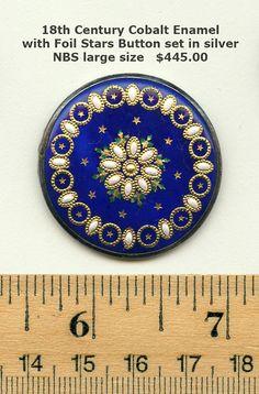 18thc.enamel Thumbnail 18th Century Cobalt Enamel with Foil Stars Button  - set in silver
