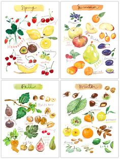 Watercolor fruit print set, Four seasons art, Set of 4 prints, 8X10 Food print, Colorful painting, Garden art, Kitchen print set, Home decor by lucileskitchen on Etsy