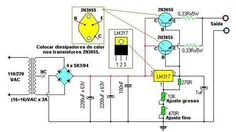 fonte com e transistor Radio Design, Dc Circuit, Circuit Diagram, Hobby Electronics, Electronics Projects, Radios, Battery Charger Circuit, Power Supply Circuit, Electronic Schematics