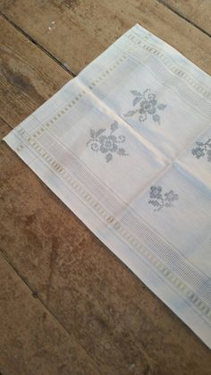 White and Delft blue German cotton table runner. by longlostlove