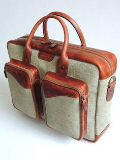 Купить Портфель - комбинированный, портфель из кожи, мужской аксессуар, портфель мужской, подарок мужчине