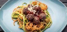 Spaghetti av squash og søtpotet med hjemmelagde kjøttboller