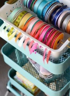 DIY Gift Wrapping Station -ribbon in basket idea. Can also put ribbons on rod or paper towel holder DIY Gift Wrapping Station -ribbon in basket idea. Can also put ribbons on rod or paper towel holder Craft Room Storage, Craft Organization, Storage Ideas, Ribbon Organization, Craft Rooms, Organizing Tips, Cleaning Tips, Craft Storage Solutions, Cheap Storage
