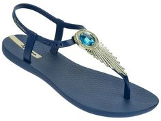 Designer Clothes, Shoes & Bags for Women Gold Flip Flops, Flip Flop Sandals, Gold Sandals, Shoes Sandals, Ipanema Flip Flops, Blue Shoes, Blue Gold, Slippers, Footwear